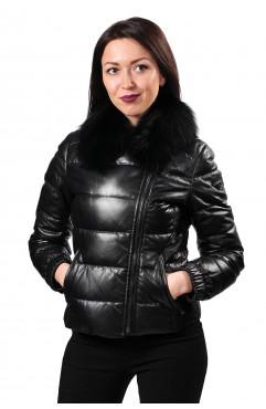 Пуховая кожаная куртка Prada